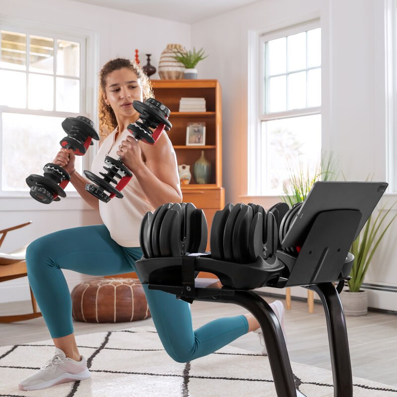 Lunges with SelectTech 552 Dumbbells - expanded view