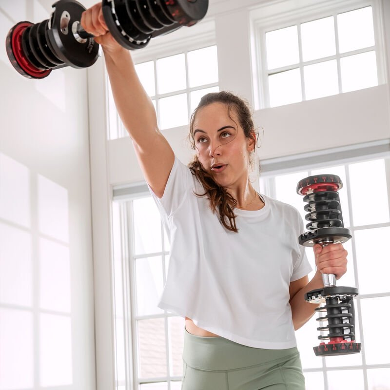 Dumbbell raises with SelectTech 1090 Dumbbells - expanded view