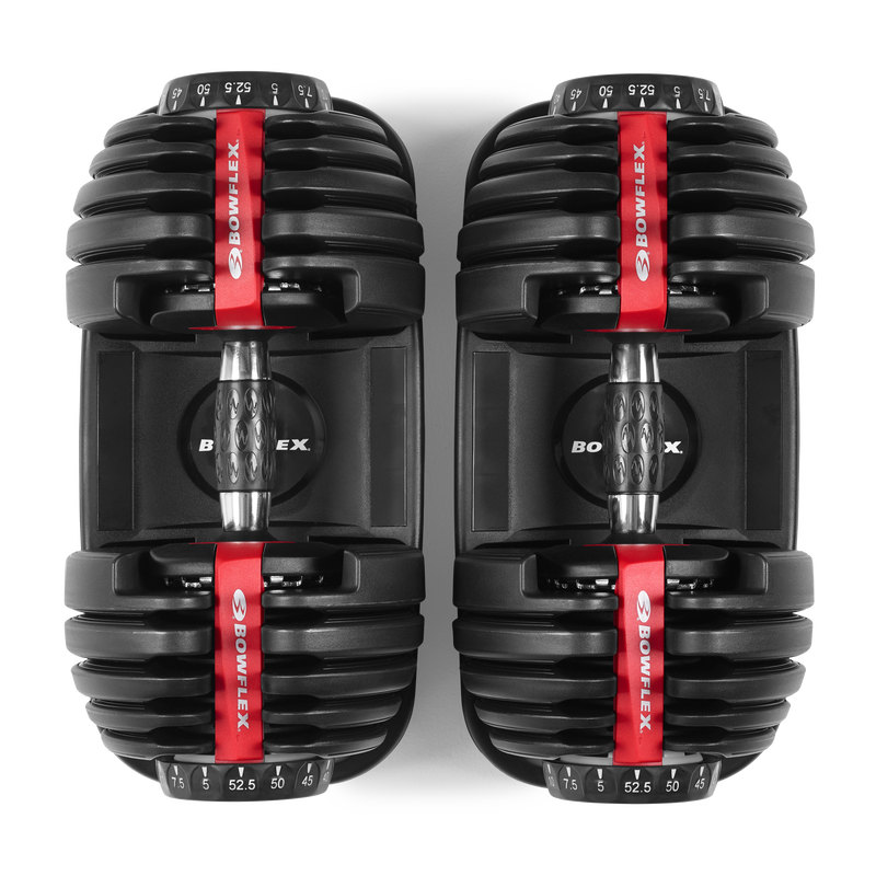View from above of SelectTech 552 Dumbbells - expanded view