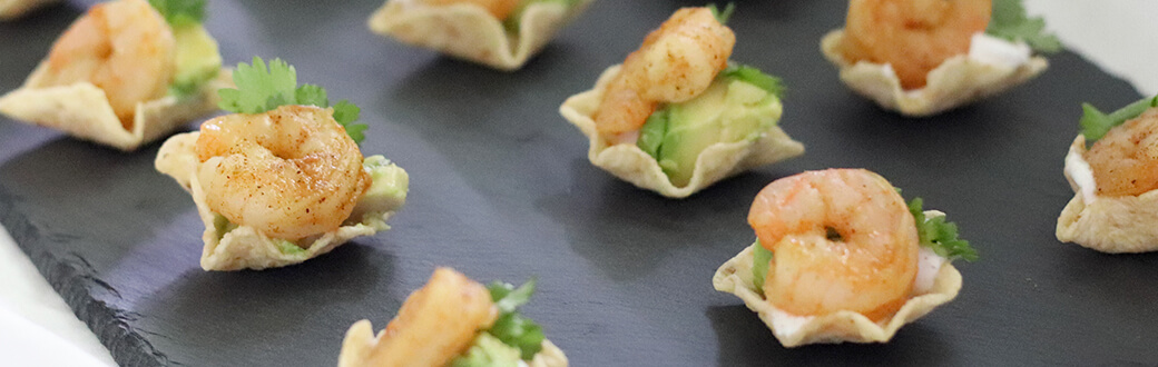 Shrimp and avocado bites on a table