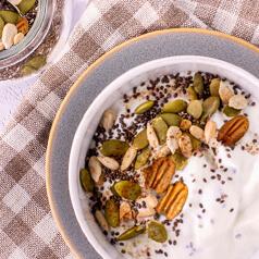 bowl of yogurt with mix-ins