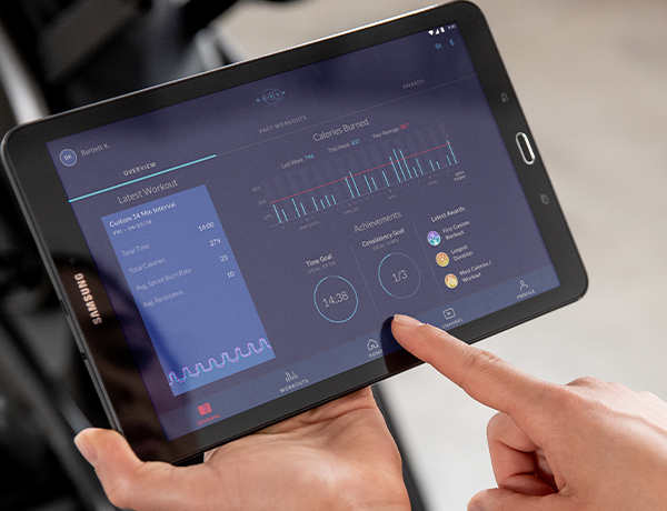 tablet showing workout data