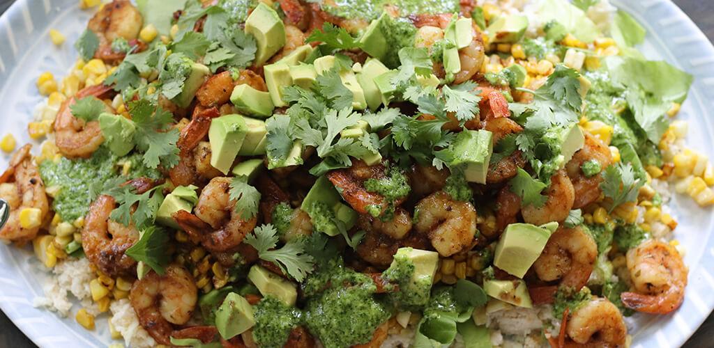 Avocado, shrimp, and cauliflower rice bowl.