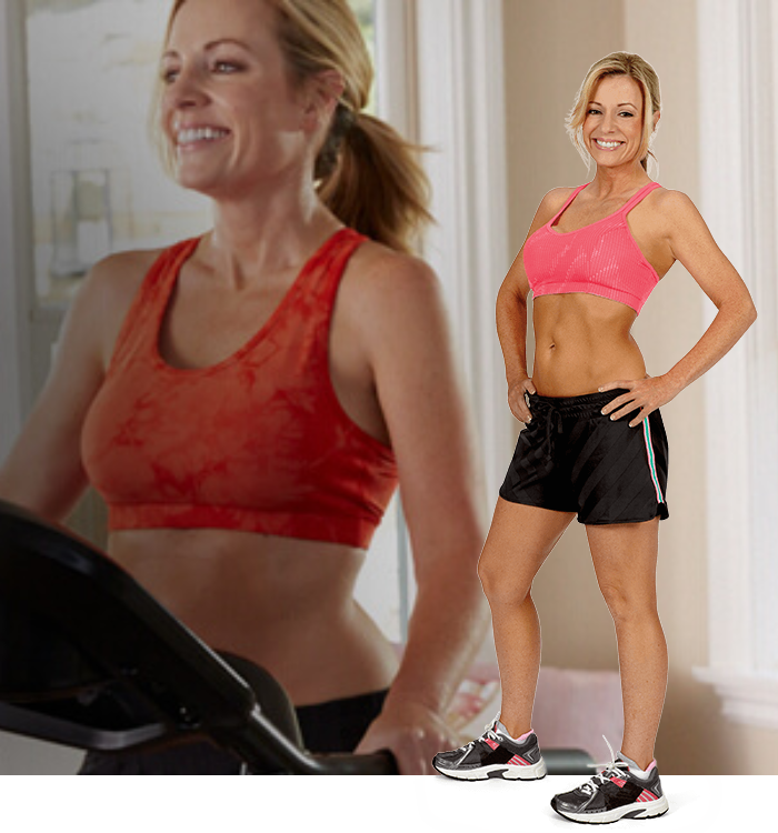 Shelly working out on a TreadClimber
