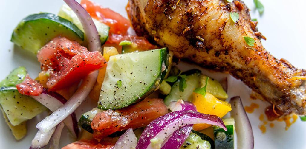 baked chicken leg with veggies