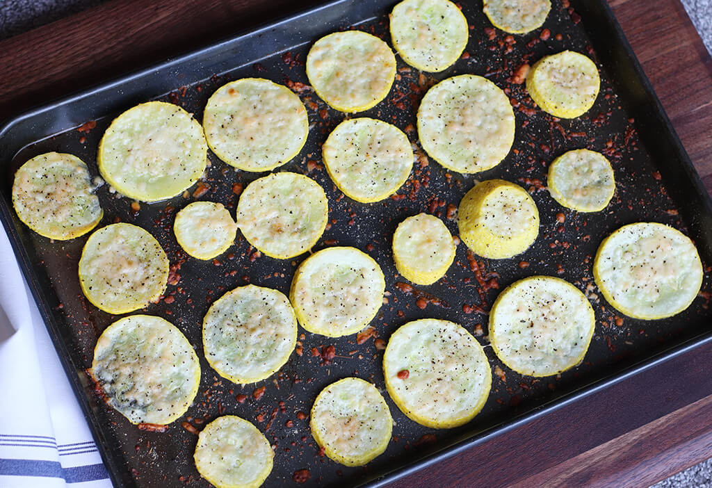 oven roasted squash on a baking sheet