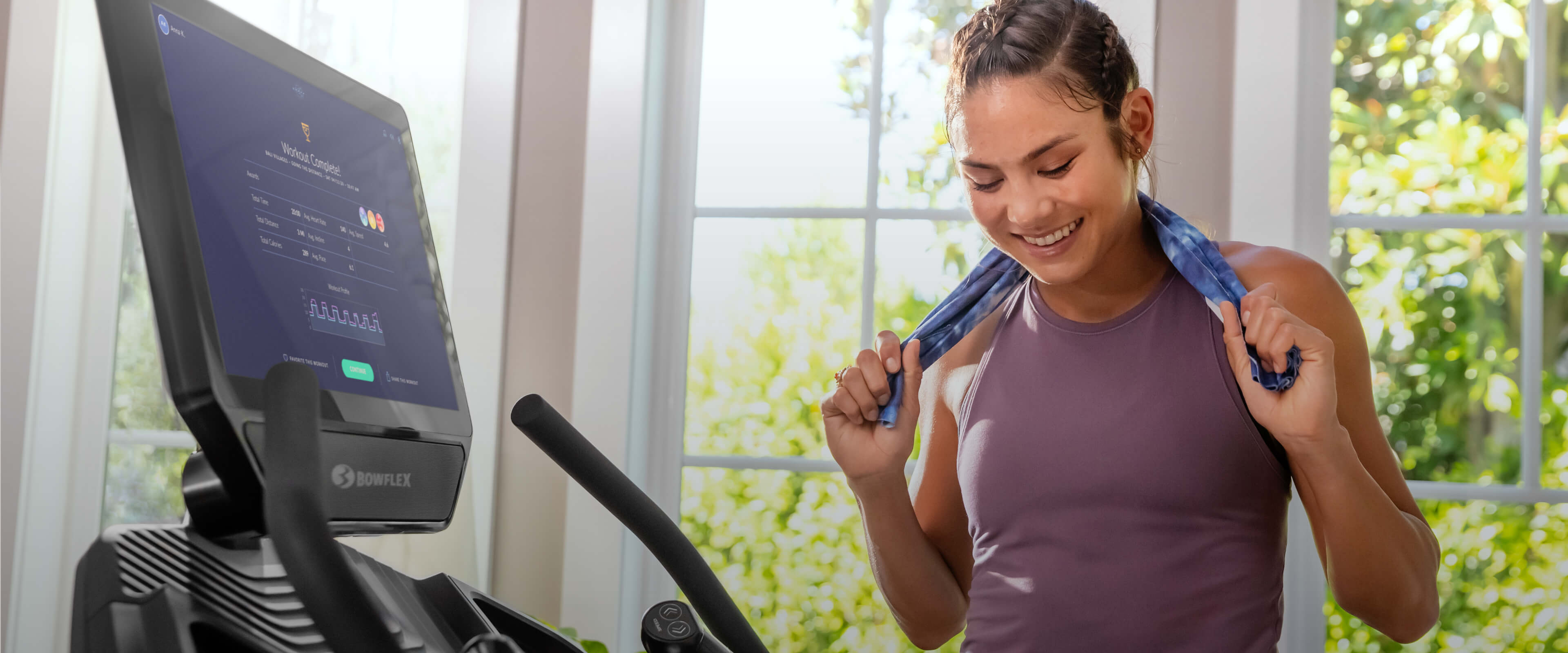 woman resting after treadmill workout