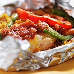 Close up image of Tinfoil Packet Chicken Fajita Dinner