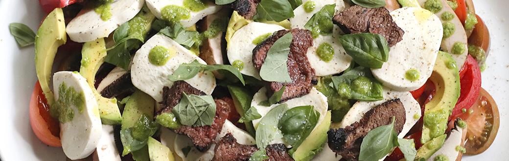 Prepared steak salad.