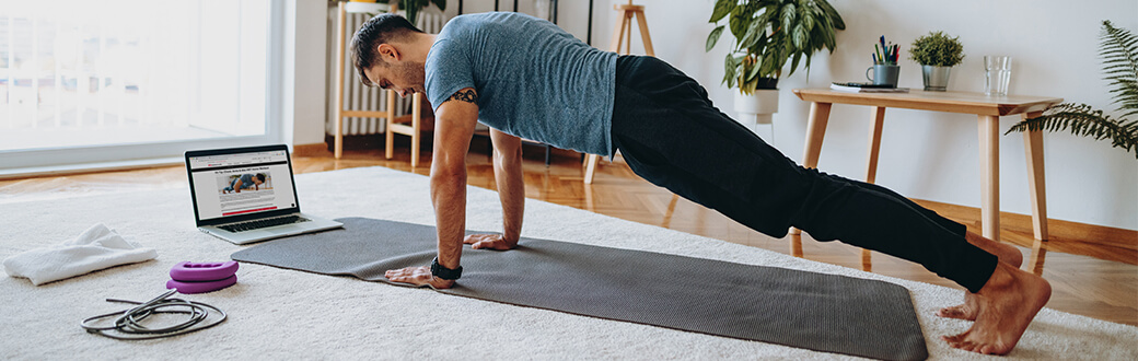 A man performing a plank