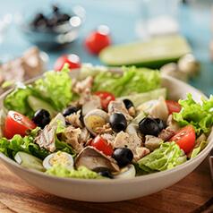 Closeup image of no cook salad