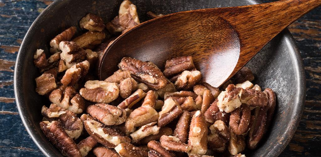 A bowl of pecans.
