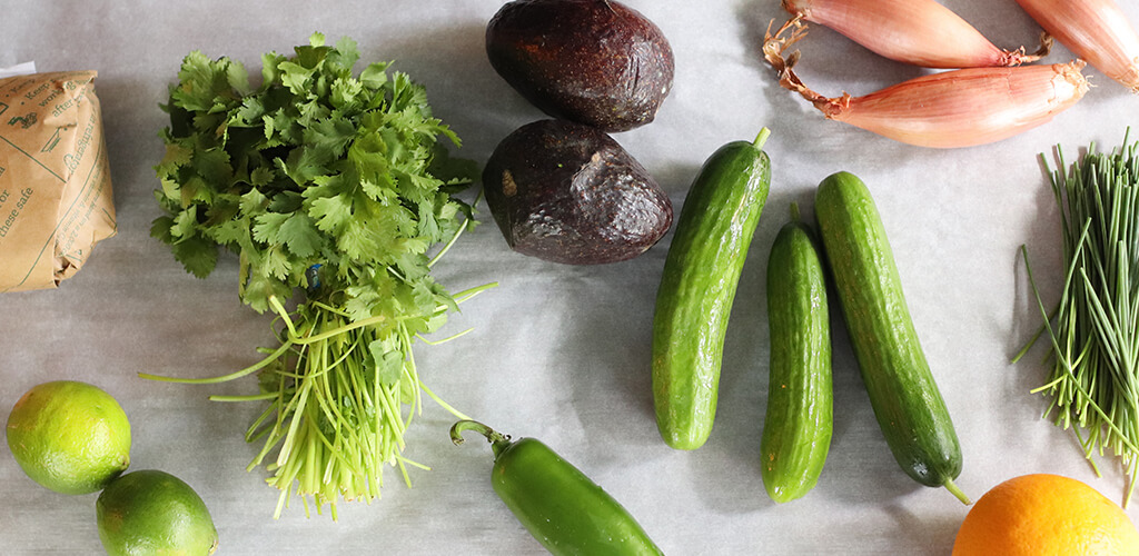 Ingredients for sea bass and shrimp ceviche.
