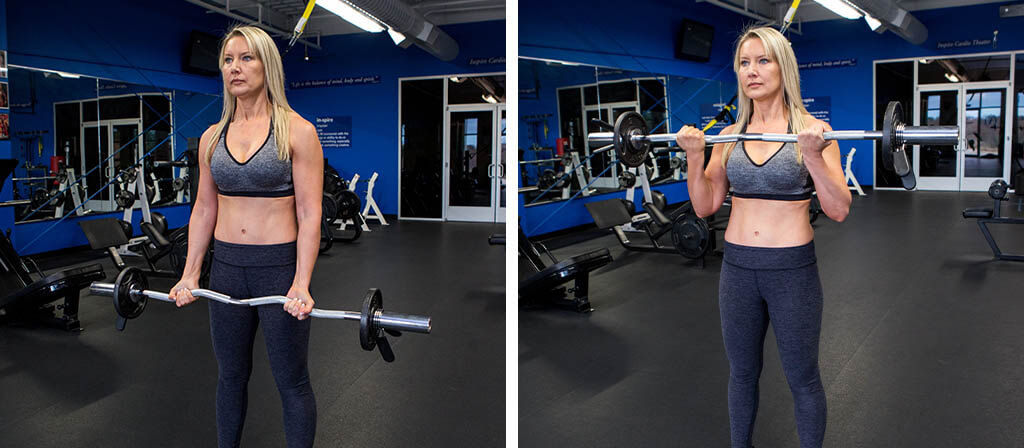 Lisa Traugott performing an e-z curl bar biceps curl