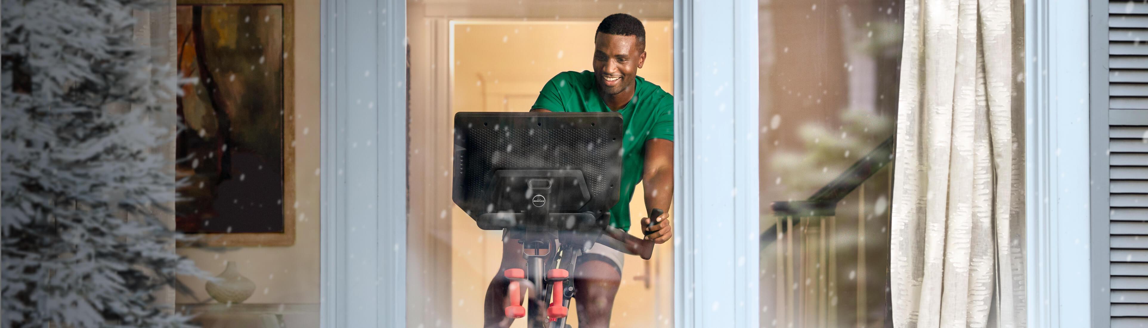 A man riding a VeloCore bike.