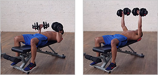 Man performing a chest press.