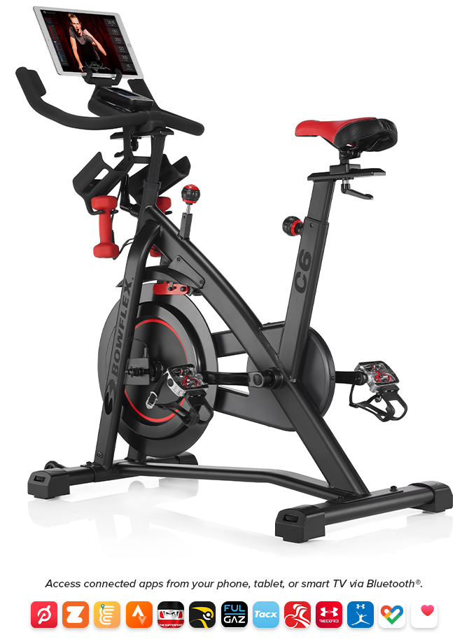Bowflex C6 indoor exercise bike with connectivity to popular apps