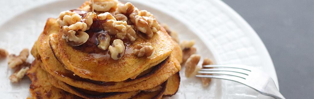 A stack of almond flour pumpkin pancakes