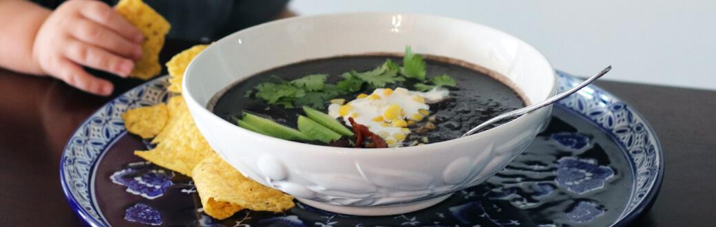 A bowl of black bean soup