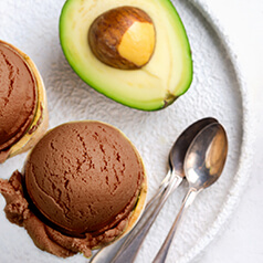 Closeup image of avocado ice cream.