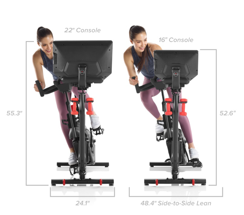 VeloCore Bike Dimensions - Width 24.1 inches.  Width when leaning side to side - 48.4 inches.  Height 55.3 or 52.6 inches.