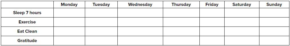 Monday thru Friday Self Care Calendar