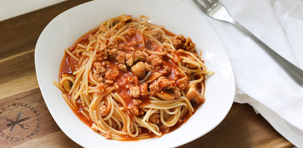 A bowl of turkey spaghetti