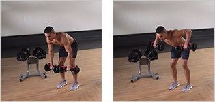 Man performing a bent arm dumbbell row.