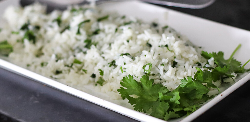 A plate of cilantro rice.