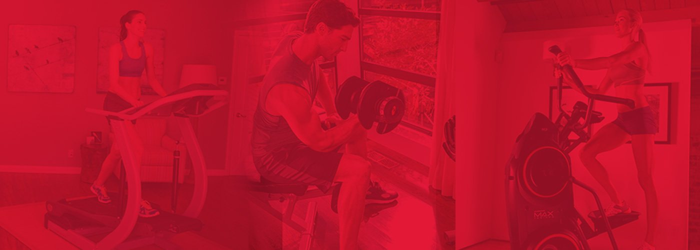 variety of people working out with different Bowflex products