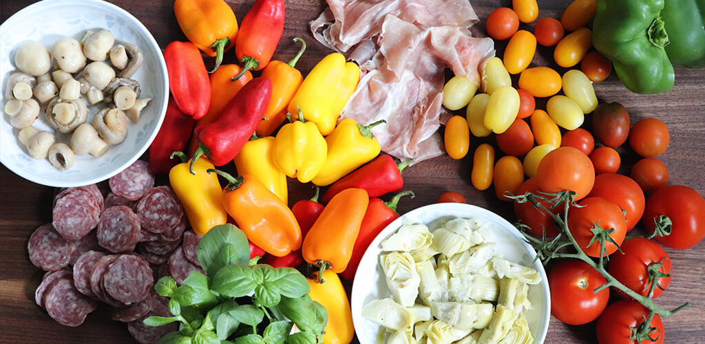 Italian antipasti ingredients.