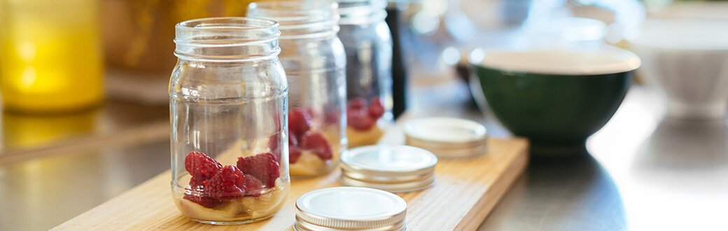 Mason jars being used for meal prep.