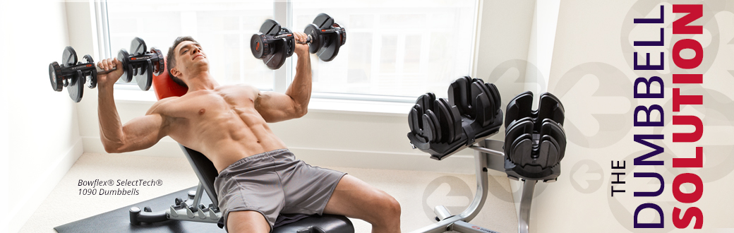 A man using Bowflex SelectTech Dumbbells performing a Dumbbell workout.