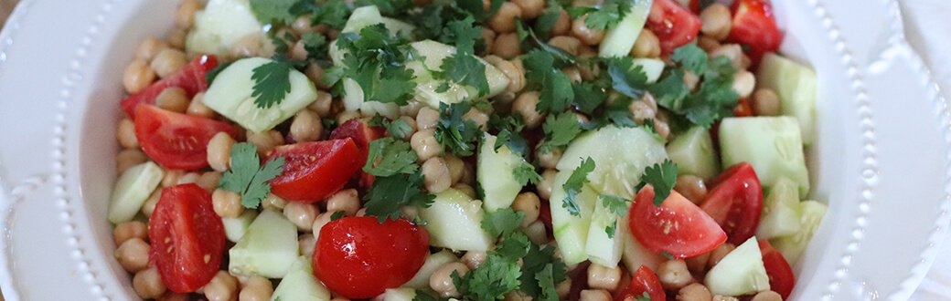 A bowl of carefree chickpea salad