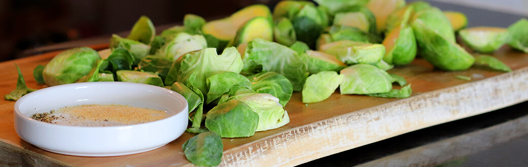 Brussels sprouts on cutting board