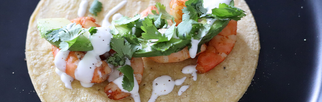 A prepared shrimp taco
