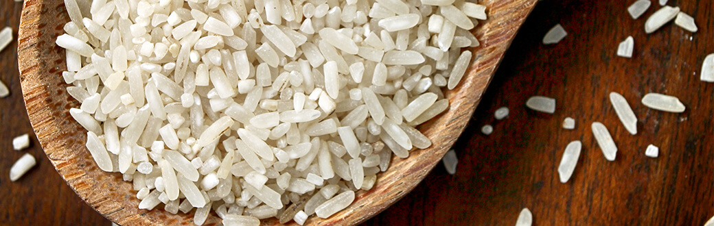 white rice in a wooden bowl