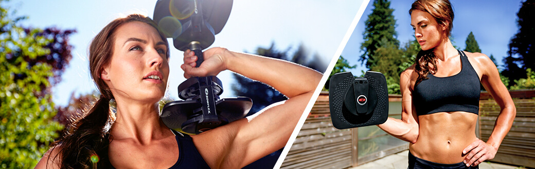 Outdoor workouts – why it's time to take your workouts outside. Woman outside with Bowflex SelectTech Dumbbells.
