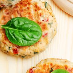 Closeup of Salmon Quinoa Veggie Burger