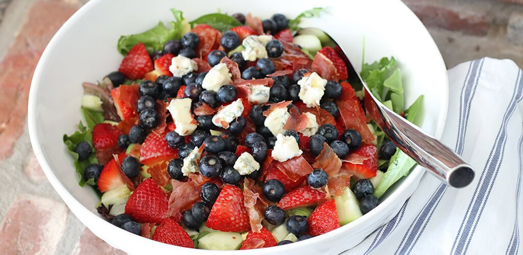 red white and blue salad in a bowl