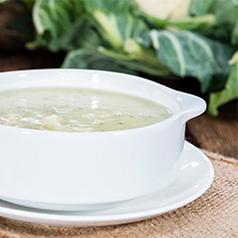 Close up of Chunky Cauliflower Chowder Soup