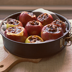 Baked apples in a spring foil pan.