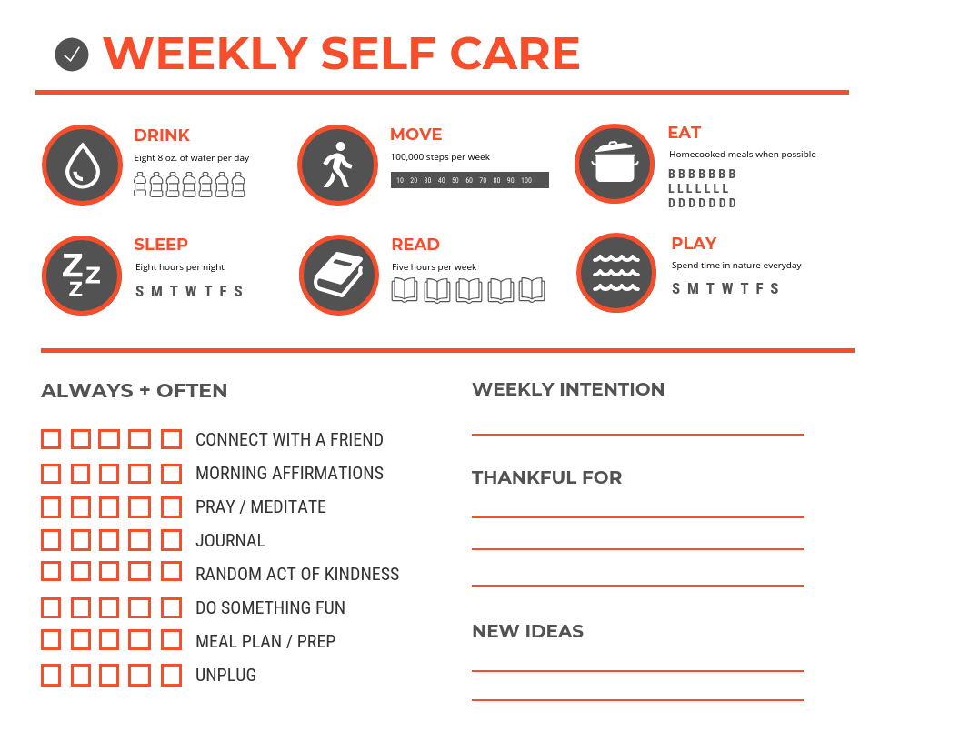 A self-care sheet.