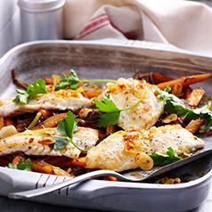 Cooked chicken and vegetables on a plate.