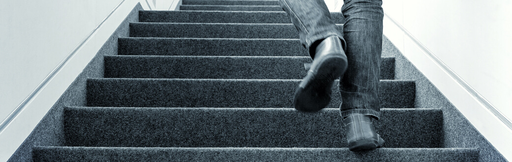 A person walking up stairs.