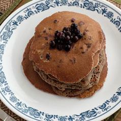 Closeup image of quinoa berry pancakes