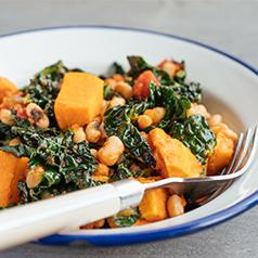 Closeup image of Kale Sweet Potato Hash