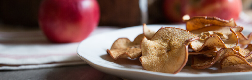 A plate of baked apple chips.