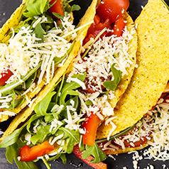 Close up of tempeh tacos.