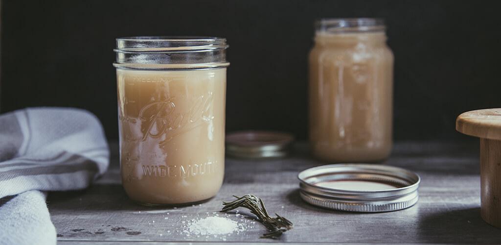 A jar of bone broth.